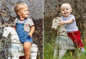 Till häst 1975 och 2009. Lilla killen till vänster blev så småningom far till lilla killen till höger.